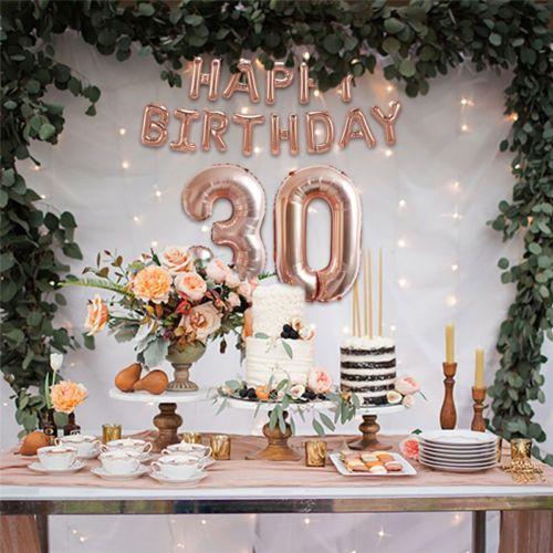 Rose Gold Happy Birthday Foil Balloon Banner Garland Shower Wedding Party Decor