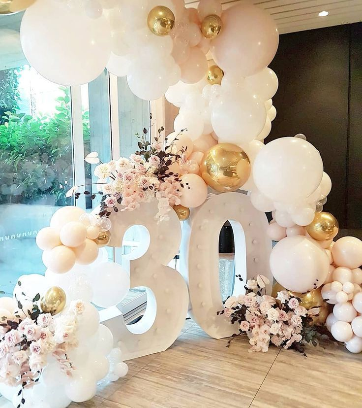 """Shannon Kilford on Instagram_ """"All the pretty for this 30th birthday in The Ivy Penthouse! Balloon Styling @borntopartyshop Beautiful blooms @stemsbyabby Lights…"""""""